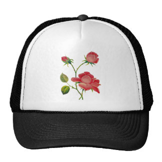 Faux Embroidered Deep Pink Roses Cap