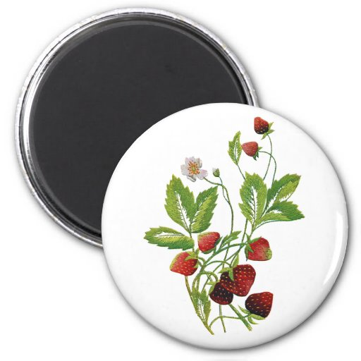 Faux Embroidered Fresh Strawberries Fridge Magnets
