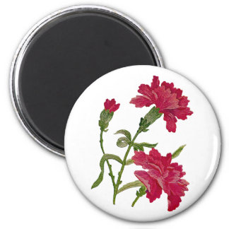 Faux Embroidered Red Carnations 6 Cm Round Magnet