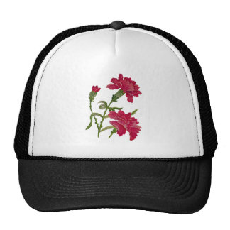 Faux Embroidered Red Carnations Cap