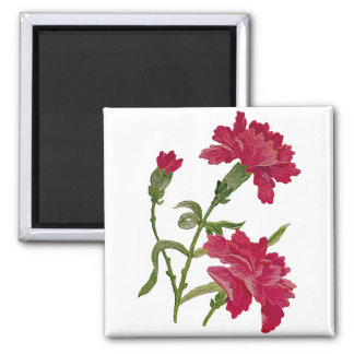 Faux Embroidered Red Carnations Square Magnet