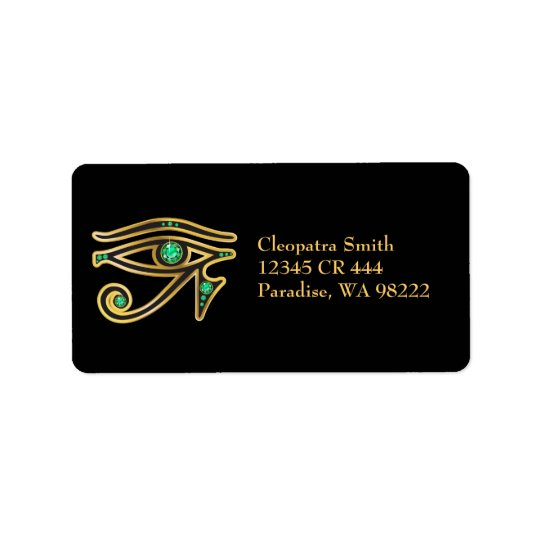Faux-Emerald Eye of Ra in Gold Address Label
