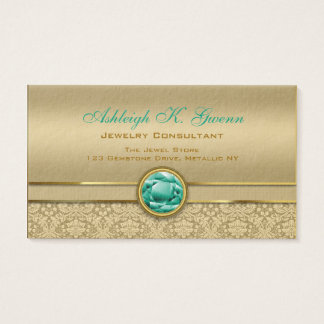 Faux Emerald Green Gemstone Metallic Gold Damask Business Card