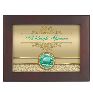 Faux Emerald Green Gemstone Metallic Gold Damask Keepsake Box
