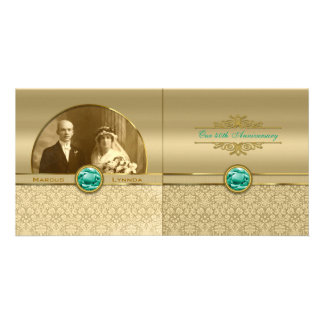 Faux Emerald Green Gemstone Metallic Gold Damask Photo Card