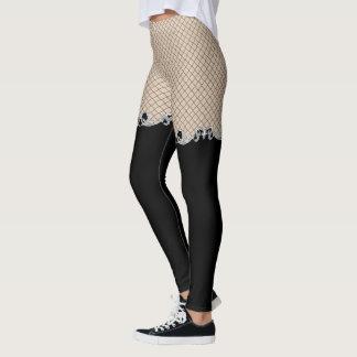 Faux Fishnet Thigh HIgh Stockings Goth Leggings