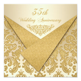 FAUX Flaps Damask 35th Anniversary Invitation