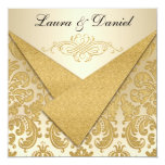 FAUX FLAPS Gold Damask Chandelier Reception Invite