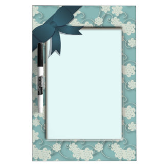 Faux Floral Frame and Ribbon Dry Erase Board