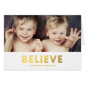Faux Foil Believe   Folded Holiday Greeting Card