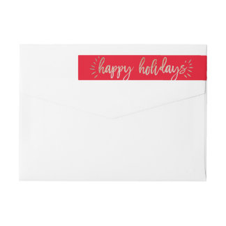 Faux Foil Gold Happy Holidays Return Address Label Wraparound Return Address Label