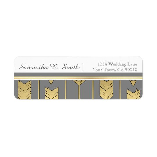 Faux Foil Golden Arrows Grey Return Address Label