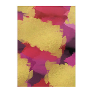 Faux Foil Watercolor Abstract Wall Art Print