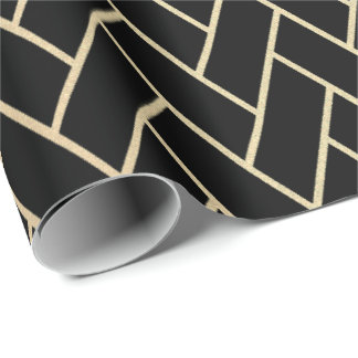 Faux Foxier Gold Black Bricks  Zig Zag Geometry Wrapping Paper