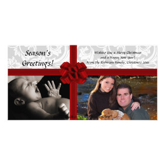 Faux Gift Bow, 2-Photo Christmas Photocard Picture Card