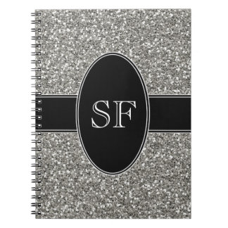 Faux Glitter and Black Monogram Notebook