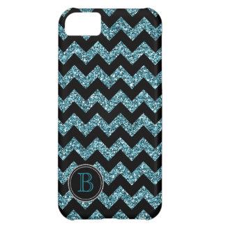 Faux Glitter Black and Blue Chevron Monogram iPhone 5C Case