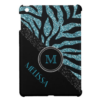 Faux Glitter Black Blue Zebra with Monogram Cover For The iPad Mini