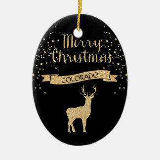 Faux Glitter Black Gold Elk Colorado Ceramic Ornament