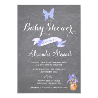 Faux glitter blue butterfly ribbon baby boy shower card