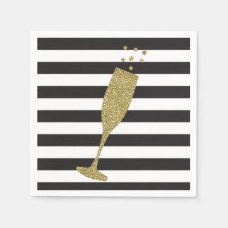 Faux Glitter Champagne Flute Chic Paper Napkins Disposable Napkin