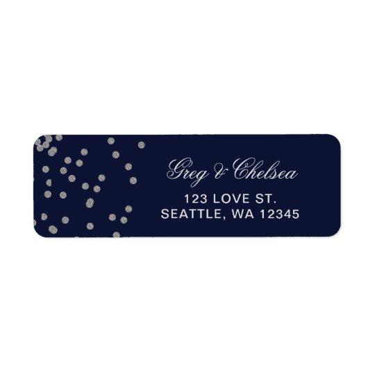FAUX Glitter confetti navy and silver wedding Return Address Label