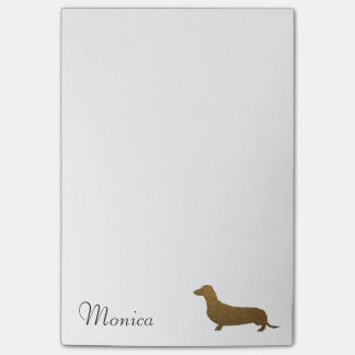 Faux Glitter Dachshund Icon | Custom Name Template Post-it® Notes