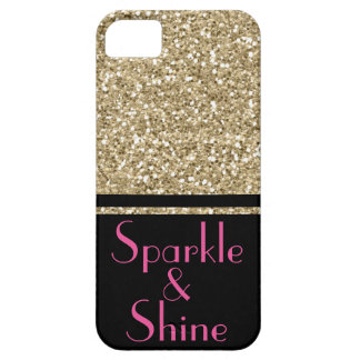 Faux Glitter Deco Sparkle & Shine gold pink black Barely There iPhone 5 Case