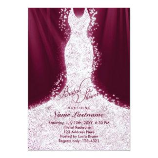 Faux Glitter Dress Burgundy Bridal Shower Invite