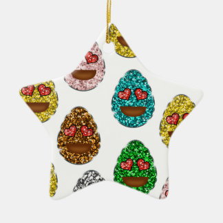 Faux Glitter Emoji Easter Eggs With Heart Eyes Ceramic Ornament