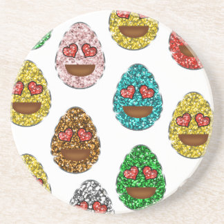 Faux Glitter Emoji Easter Eggs With Heart Eyes Coaster