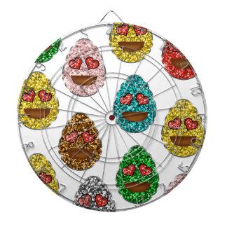 Faux Glitter Emoji Easter Eggs With Heart Eyes Dartboard