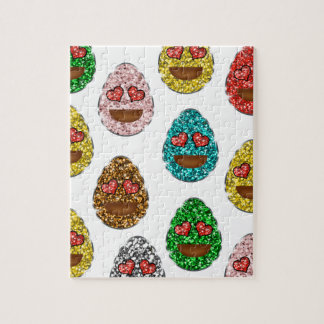 Faux Glitter Emoji Easter Eggs With Heart Eyes Jigsaw Puzzle