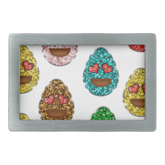 Faux Glitter Emoji Easter Eggs With Heart Eyes Rectangular Belt Buckles