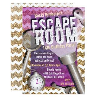 Faux Glitter Escape Room Party Invitations