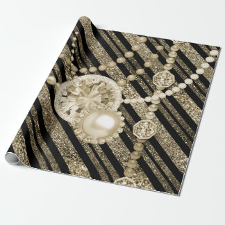 Faux Glitter & Jewels Gold & Black Tones Wrapping Paper