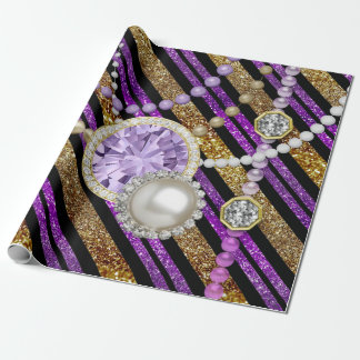 Faux Glitter & Jewels Purple & Gold Tones Wrapping Paper