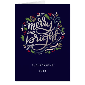 Faux Glitter Marry and Bright Navy Christmas Card