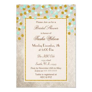 FAUX Glitter Mint Gold confetti Bridal Shower Card