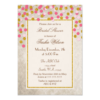 FAUX Glitter Pink Gold confetti Bridal Shower 13 Cm X 18 Cm Invitation Card