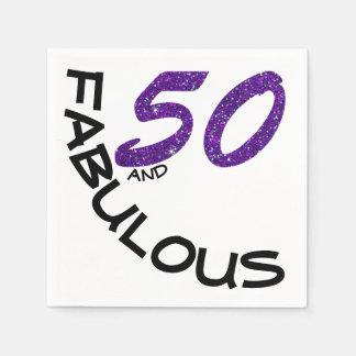 "Faux Glitter Purple & Black ""50 and Fabulous"" Disposable Napkin"
