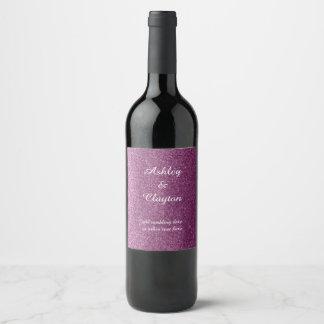 Faux Glitter Purple Elegance Wine Label