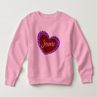 Faux Glitter Red & Purple Heart Toddler Sweatshirt
