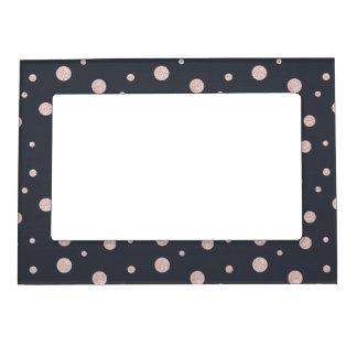 FAUX glitter rose gold blush dotty pattern Magnetic Frame