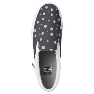 FAUX glitter rose gold blush dotty pattern Slip On Shoes