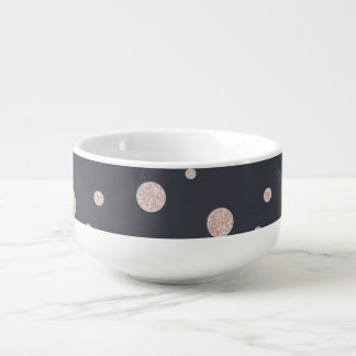 FAUX glitter rose gold blush dotty pattern Soup Mug