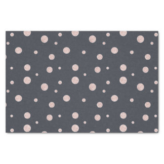 FAUX glitter rose gold blush dotty pattern Tissue Paper