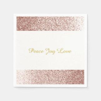 Faux Glitter Rose Gold Peace Joy Love Disposable Napkin
