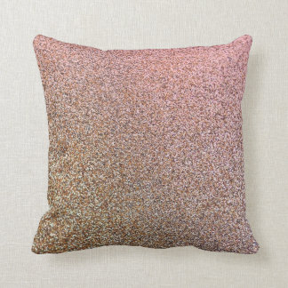 Faux Glitter Rose-Gold Throw Pillow Cushion