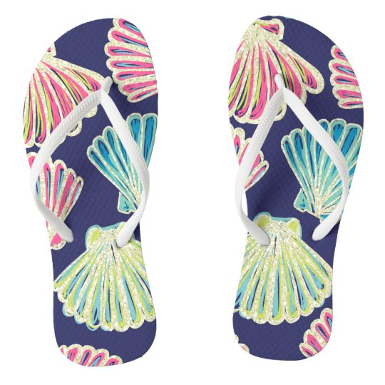 Faux Glitter Seashells Thongs